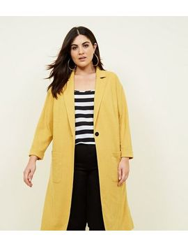 Curves Mustard Cross Hatch Duster Jacket by New Look
