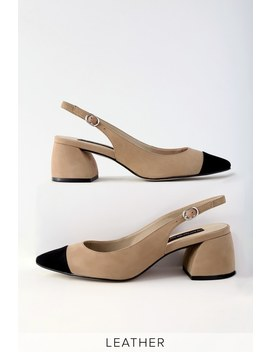Agent Tan Multi Leather Slingback Pumps by Steven