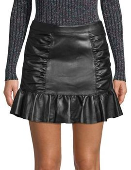 Alexandra Leather Ruched Skirt by Parker