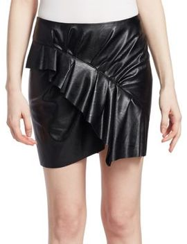 Zeist Ruffle Faux Leather Mini Skirt by Isabel Marant Etoile