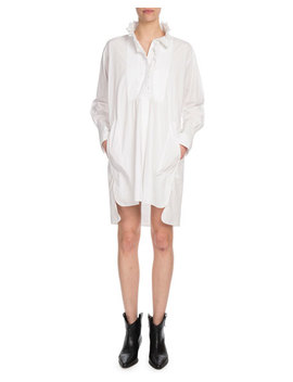 Milena Ruffle High Neck Cotton Shirt Dress by Etoile Isabel Marant