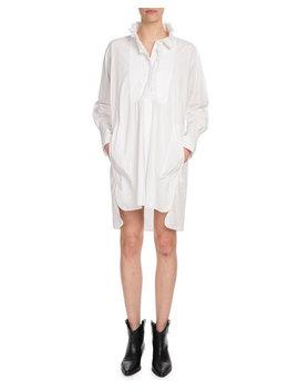 Milena Ruffle High Neck Cotton Shirt Dress by Etoile Isabel Marant