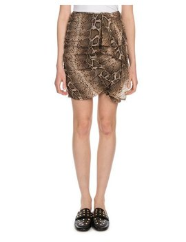 Jerine Shirred Snake Print Mini Skirt by Etoile Isabel Marant