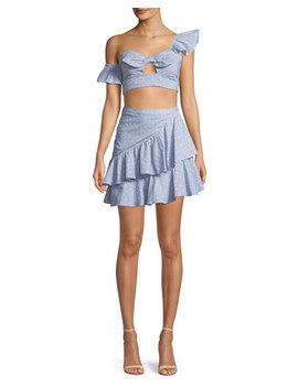 Mara High Waist Ruffle Mini Skirt by Neiman Marcus