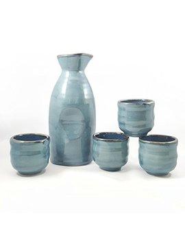 Happy Sales Hsss Blu03,  5 Piece Ceramic Sake Set   Grey Blue by Happy Sales