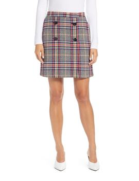 Button Detail Plaid Skirt by Halogen®