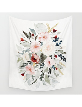 Loose Watercolor Bouquet Wall Tapestry by