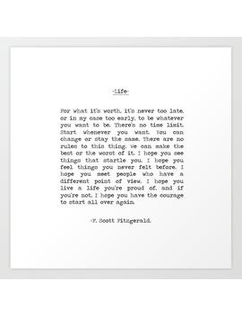 Life Quote F. Scott Fitzgerald Art Print by