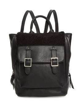 Faux Shearling Trim Buckle Backpack by Violet Ray New York