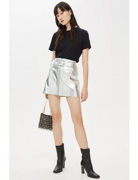 Metallic Pu Mini Skirt by Topshop