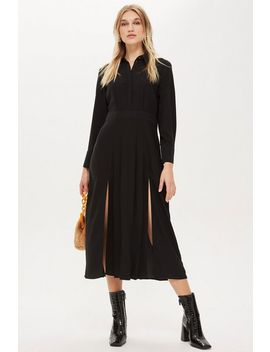 Pleated Midi Shirt Dress by Topshop