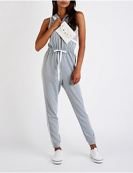 Varsity Striped Hooded Jumpsuit by Charlotte Russe