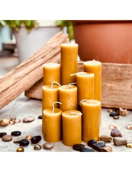 "100 Percents Pure Beeswax Candle 3""To 15"" Scented Or Unscented Pillar Candles Beeswax Candles 2"" Diameter Pure Beeswax Candle Beeswax by Be Esom"
