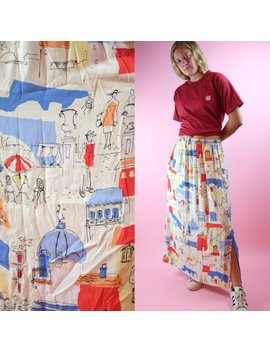 Vintage 1990s Skirt   Hippie Boho All Over Print Paris France Europe Landscape Dog Water Color Skirt by Atlantic Oaks Vintage