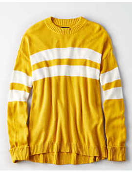 Ae Chest Stripe Pullover Sweater by American Eagle Outfitters