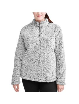Time & Tru Women's Plus Snow Tipped Quarter Zip Jacket by Time And Tru