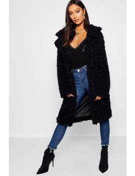 Shaggy Faux Fur Look Coat by Boohoo