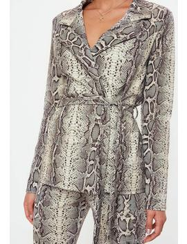 Snake Print Blazer by Missguided