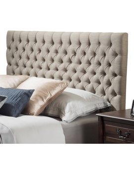Noble House Newton Modern Contemporary Tufted Fabric King/Cal King Headboard, Sand by Noble House