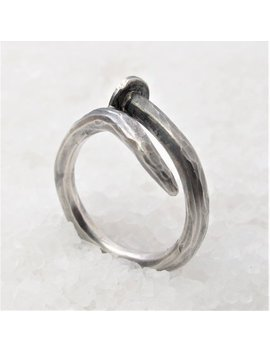 Men Nail Silver Ring, Oxidized Silver Nail. by Artecangiant E