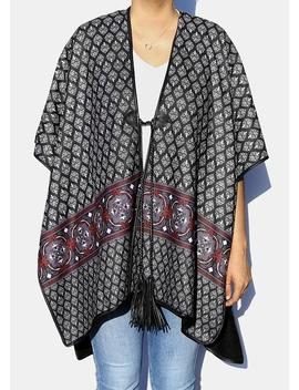 Tassel Tie Ruana Wrap by Miss A Scarves