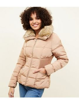 Camel Faux Fur Collar Cinched Waist Puffer Jacket by New Look