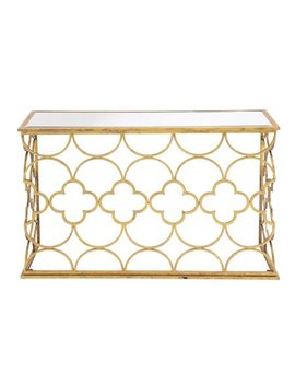 Decmode Modern Metal And Mirror Quatrefoil Console Table, Gold by Dec Mode