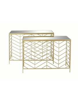 Decmode Set Of 2 Contemporary 30 And 32 Inch Textured Iron And Glass Mirror Rectangular Console Tables, Gold by Dec Mode