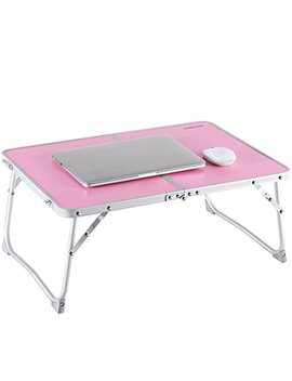 Laptop Table For Bed, Superjare Portable Outdoor Camping Table, Breakfast Serving Bed Tray With Legs   Pink by Superjare