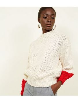 White Contrast Balloon Sleeve Hand Knit Jumper by New Look