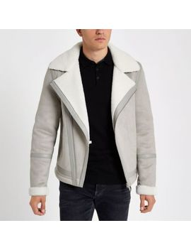 Grey Borg Lined Biker Jacket by River Island