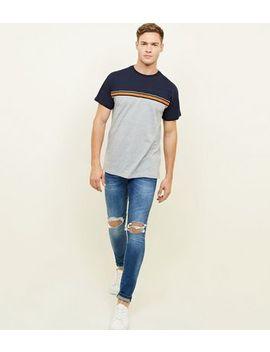 Bright Blue Ripped Knee Stretch Skinny Jeans by New Look