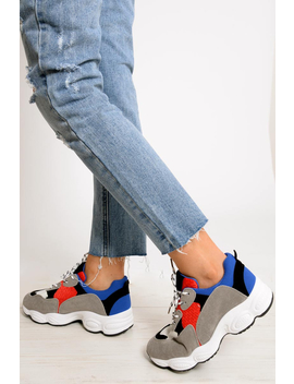 Blue Chunky Lace Up Trainers   Dita by Rebellious Fashion