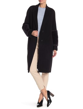 Genuine Lamb Fur Trimmed Long Coat by Vince