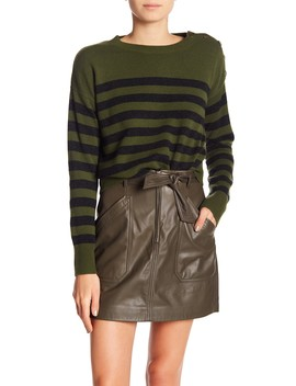 Shoulder Button Striped Cashmere Sweater by Vince