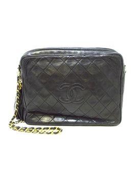 Auth Chanel Matelasse Black Lambskin Shoulder Bag Gold Hardware by Chanel