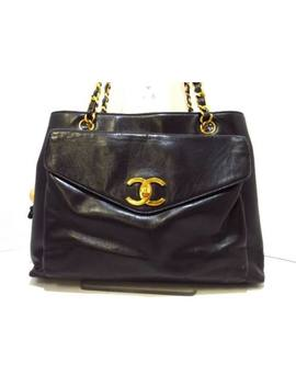 Auth Chanel Black Lambskin Shoulder Bag Gold Hardware by Chanel