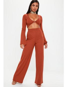 Rust Ribbed Wide Leg Pants by Missguided