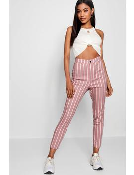 Dea High Rise Stripe Skinny Jeans by Boohoo