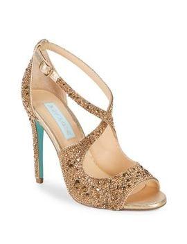 Sage Embellished Satin Ankle Strap Sandals by Betsey Johnson