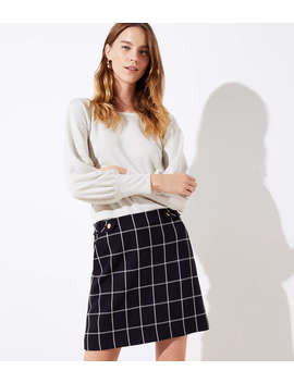 Petite Plaid Button Tab Pocket Skirt by Loft