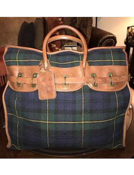 Ralph Lauren Gents Extra Large Tartan Green Wool & Leather Travel Bag Carry All by Ralph Lauren