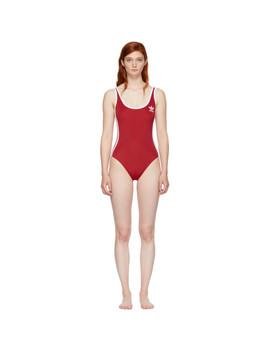 Red 3 Stripes Bodysuit by Adidas Originals