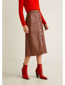 Кожаная юбка с пуговицами by Mango