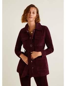 Кожаная куртка с карманами by Mango