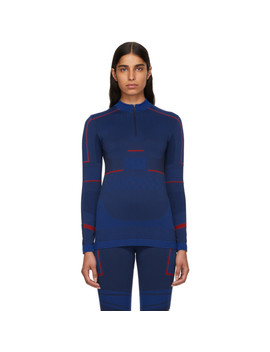 Blue Seamless Zip Up Sweater by Adidas By Stella Mccartney
