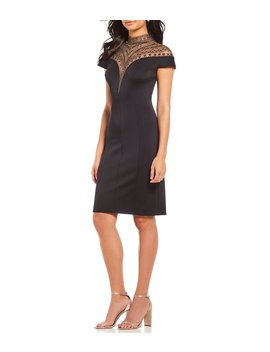 Beaded Hi Neck Sheath Dress by Tadashi Shoji