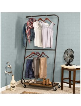 "Honey Can Do 33.5"" W Rustic Z Frame Double Bar Garment Rack by Honey Can Do"