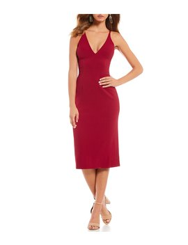 Lyla Crepe Plunge Neck Midi Dress by Dress The Population