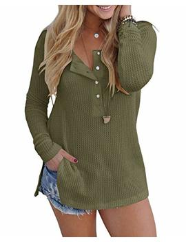 Alalei Womens Long Sleeve Henley Blouse Fall Button Down Pullover Knit Loose Leisure Stylish Sexy Knit Sweaters Tops by Alalei